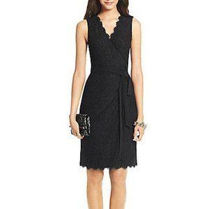 Diane Von Furstenburg Lace Wrap Dress Black